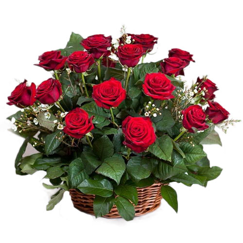 товар 21 красная роза в корзине