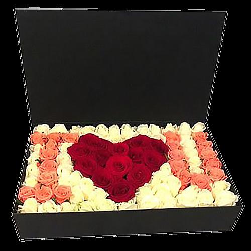 """Фото товара 101 роза в коробке """"I love you"""" в Покровске"""