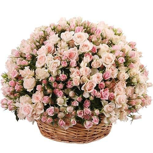 Фото букета 201 кустовая роза в корзине