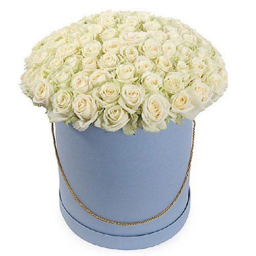 Фото товара 101 роза белая в шляпной коробке в Покровске
