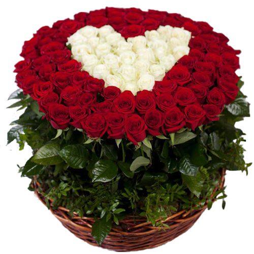 Фото товара 101 роза сердце в корзине в Покровске