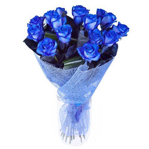 Фото товара 17 синих роз (крашеных) в Покровске