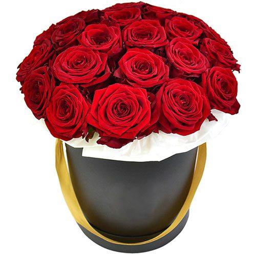 Фото товара 21 роза в шляпной коробке в Покровске