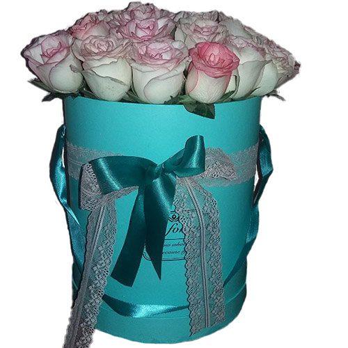 Фото товара 21 элитная розовая роза в коробке в Покровске