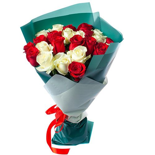Фото товара 25 роз красных и белых в Покровске