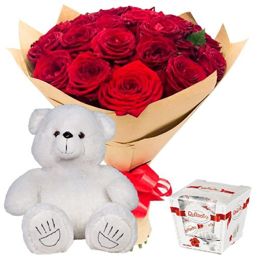 "Фото товара 25 роз, ""Raffaello"" и мишка в Покровске"