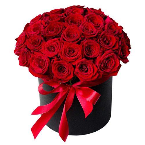 Фото товара 33 розы в шляпной коробке в Покровске