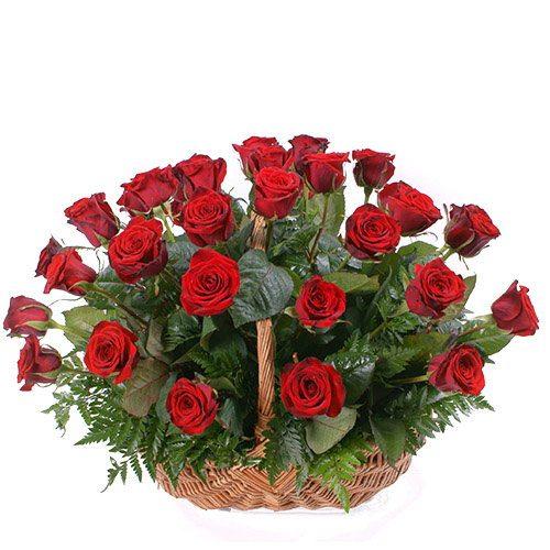 Фото товара 35 красных роз в корзине в Покровске