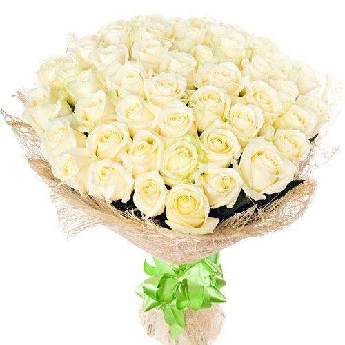 Фото товара 51 белая роза в Покровске