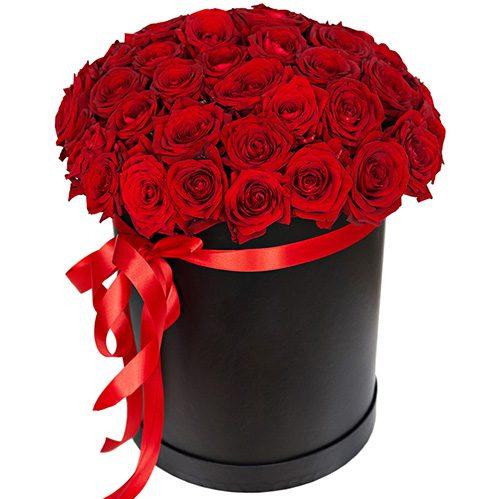 Фото товара 51 роза красная в шляпной коробке в Покровске