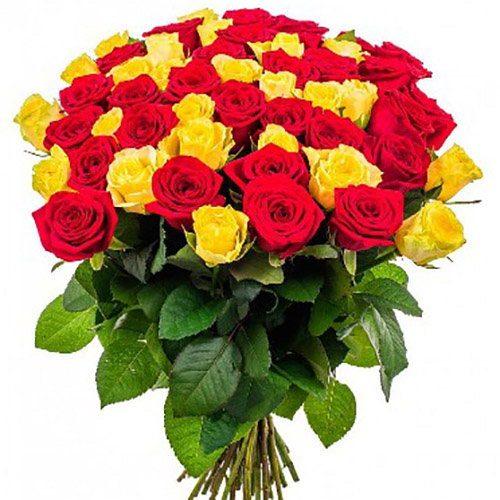 Фото товара 51 роза красная и желтая в Покровске