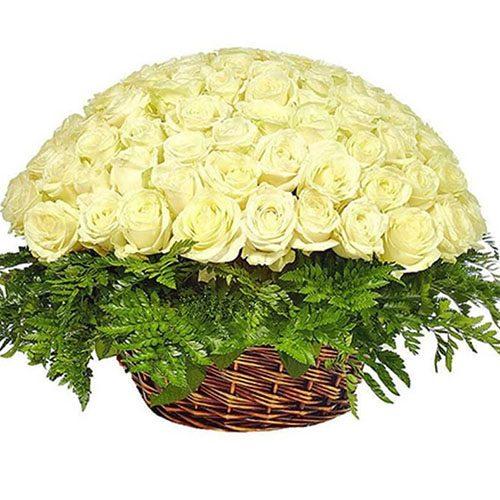 Фото товара Корзина 101 белая роза в Покровске