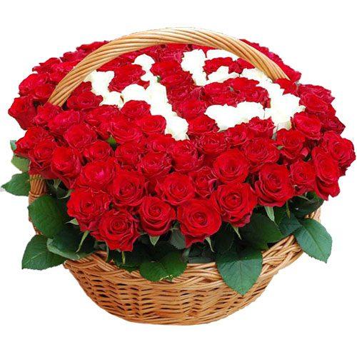 Фото товара 101 роза с числами в корзине в Покровске
