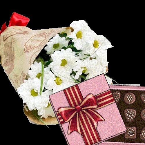 Фото товара 3 хризантемы с конфетами в Покровске