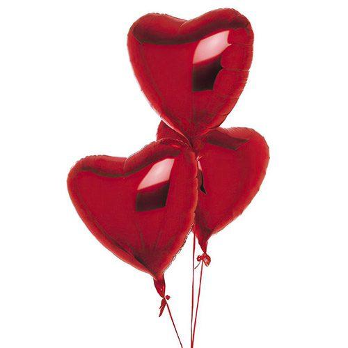 Фото товара 3 фольгированных шарика в форме сердца в Покровске