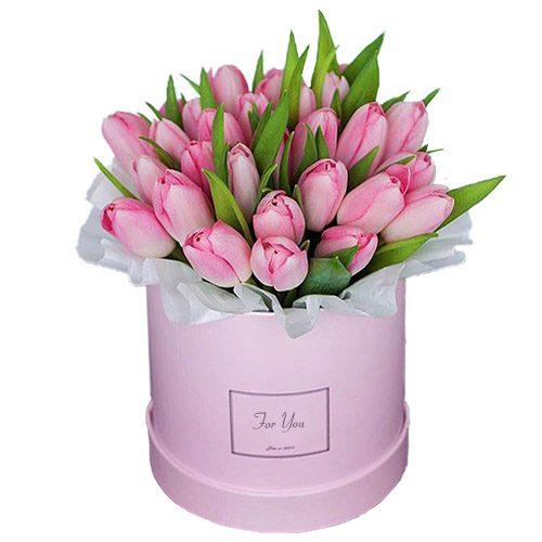 Фото товара 31 нежно-розовый тюльпан в коробке в Покровске