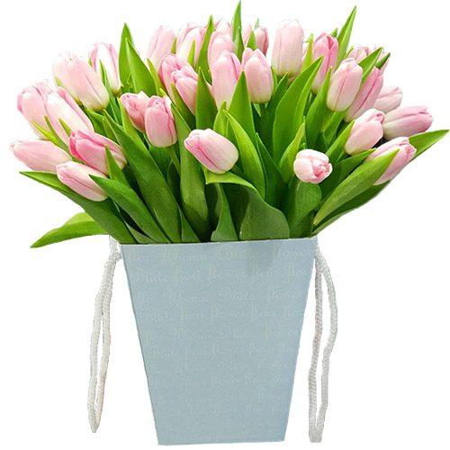 Фото товара 35 тюльпанов в квадратной коробке в Покровске