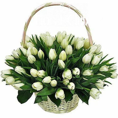 """Фото товара """"Сахарная вата"""" 51 белый тюльпан в корзине в Покровске"""