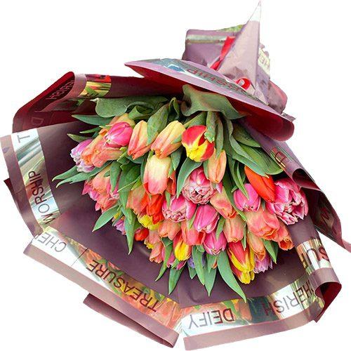 """Фото товара Букет """"Багряное солнце"""" (51 тюльпан) в Покровске"""