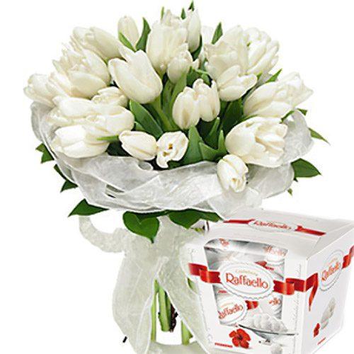 """Фото товара 25 тюльпанов и """"Raffaello"""" в Покровске"""