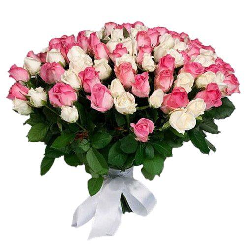 Фото товара 101 белая и розовая роза в Покровске